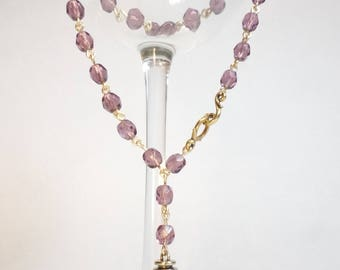 Purple Amethyst Crystal Rosary Bead Style Necklace with Small Gold Punk Rock Spike