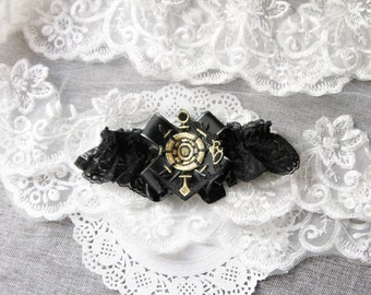 Anchor Garter Nautical Garter Marine Navy Garter - Military Wedding Garter Black Gold Garter Wedding Garter - Lace Garter