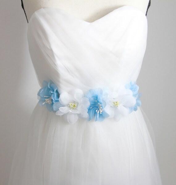 Wedding Sash Belt Bridal Sash Belt - Wedding Dress Sashes Belts - Rustic Sash Belt Flower Sash Belt Floral Belt Something Blue Flower Belt