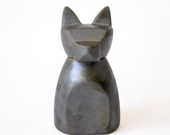 Small Anubis Dog Urn-  Rhodium