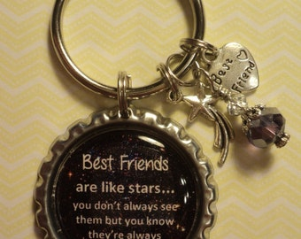 Best friends are like stars quote key chain with charms
