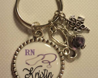 Personalized Nurse RN LPN CNA key chain with charms