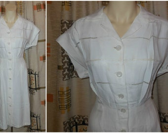 Vintage 1930s 40s Dress Creamy White Summer Dress Buttons up Front Beautiful but needs some TLC size M chest to 38 in AS IS