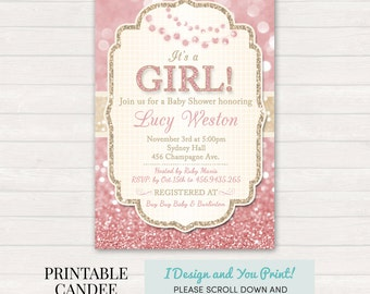 Pink and Gold Baby Shower Invitation, Pink Gold Baby Shower, Girl Baby Shower, Glitter Baby Shower, Pink Baby Shower, DIY Custom Printable
