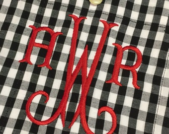 Monogram Buffalo Plaid Boyfriend Shirt - Monogram Oversize Button Up Shirt - Gingham Check Shirt - Personalize Oxford - Monogram Plaid