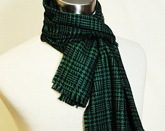 Green Plaid Scarf  -  Black Green Classic Plaid Wool Scarf  - Plaid Woven Wool Scarf .