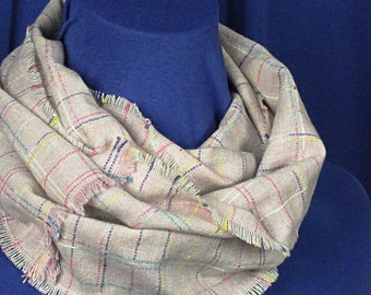 Mauve Plaid Infinity Scarf  - Mauve Plaid Wool Scarf .