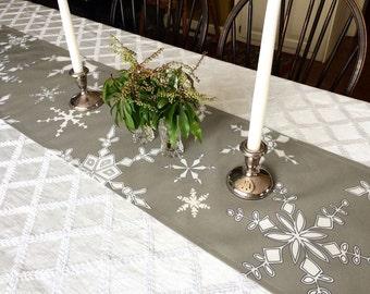 Table Runner, Christmas, Snowflakes, Mushroom Grey, Table Decoration, Holiday Home Decor,  Linen, Cotton, Christmas Decor, Holiday Decor