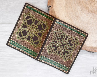 Painted leather passport cover with Celtic Knot. Gift idea for traveler, beautiful passport case for men