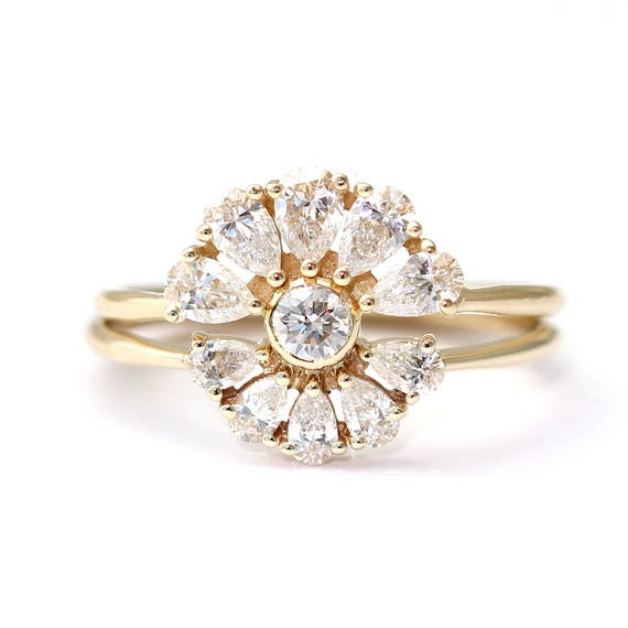 Bridal Wedding Ring Set Pear Diamond Cluster