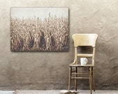Neutral Wall Decor, Photography Canvas, Rustic Farmhouse Decor, Fixer Upper Style, Large Wall Art, Tan and Brown, Beige Gray Cornfield Photo