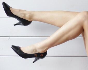 CASADEI Vintage simple black leather high heel pumps shoes 39 8.5