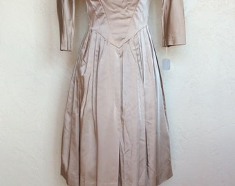 Champagne Lady 1950's satin party dress New old stock M