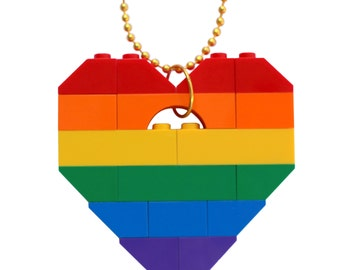 "Gangsta Rap Rainbow necklace - Chunky heart pendant - made from LEGO (R) bricks on a 24"" Silver/Gold plated ballchain"