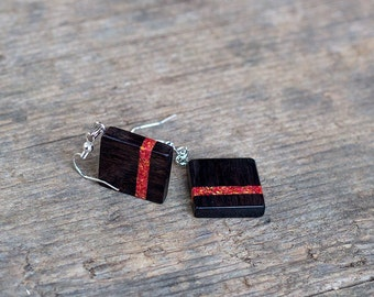 WOODEN EARRINGS square EBONY Wood with red jasper inlay | gift for her | girlfriend gift | bridesmait gift | handmade jewellery