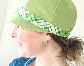 Women's Spring Green Cloche Hat, Women's Summer Hat, Summer Women's Hat, Cloche Hat for Women, Fabric Cloche Hat, Woman's Patch Hat