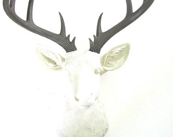 CREAM with dark brown antlers XL Faux Taxidermy Deer Head wall mount wall hanging home decor in lodge nursery office decor stag