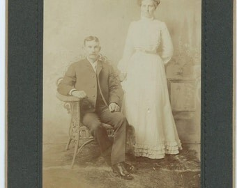 Antique Cabinet Card Photo, Young Couple, Husband and Wife, 1800s