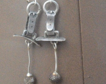 Rustic Brutalist Eco Friendly Recycle Solid Sterling Silver 925 .925 Drop Dangle Earrings Statement Modernist Industrial Bells Repurpose