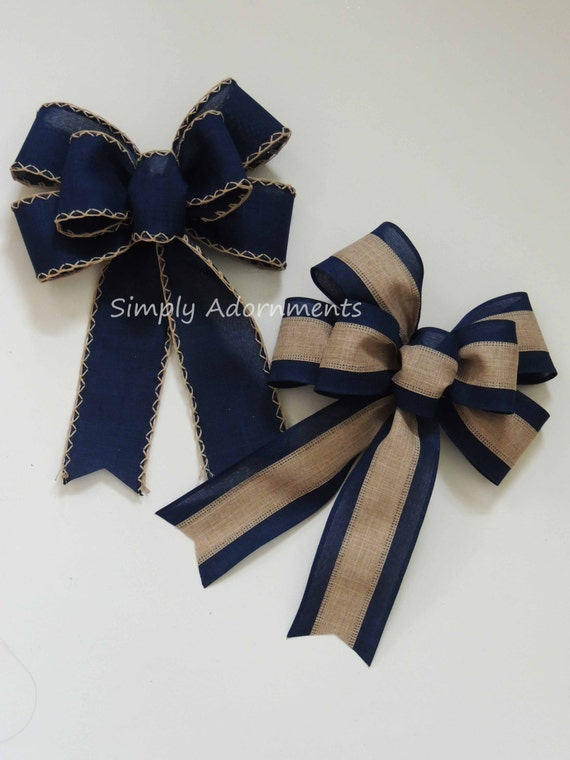 Navy Bow Rustic Navy Tan Wedding Pew Bow Navy Burlap Lantern Bow Navy door hanger Bow Navy Burlap Wedding Bow Handmade Rustic Navy Gift Bow
