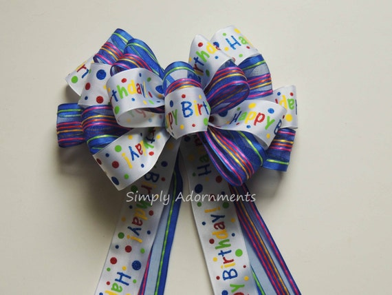 Blue Birthday Gift Bow Multi-colored Happy Birthday Bow Happy Birthday Party Decoration Bow Birthday Simply Adornments Gift Bow