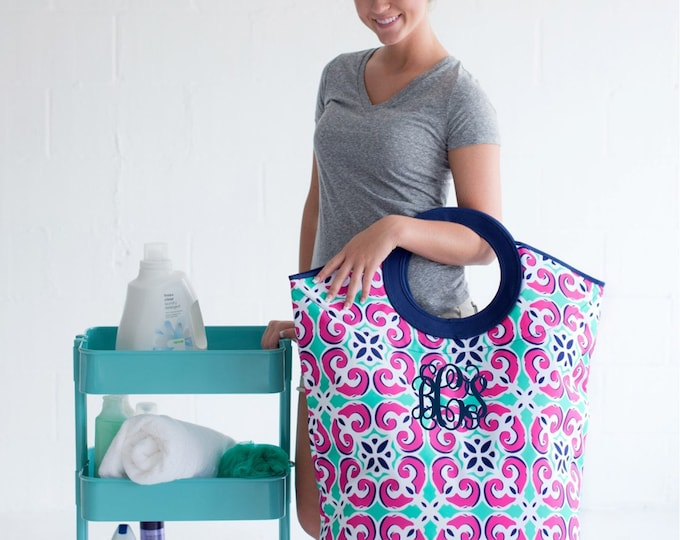 Monogrammed Laundry Hamper, Mega Tote, Monogram Laundry Bag, Dorm Room Necessity, Laundry Tote Bag, Graduation Gifts, Discounts on Multiples