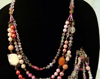 Pink three strand necklace