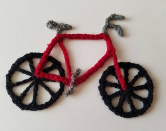 """1pc 5"""" Crochet RED BICYCLE Applique"""