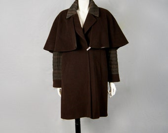 ALAIN CHABASON Paris Vintage Cashmere Wool Quilted Silk Sleeved Winter Cape