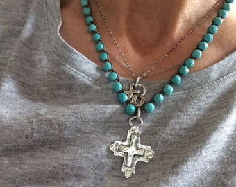Turquoise crochet cross necklace - sterling cross necklace - Southwest cowgirl necklace - religious boho necklace - gift for her