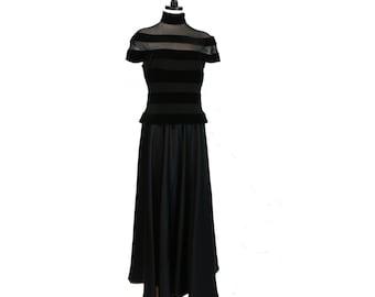Tadashi Black Cutout Mesh & Velvet Stripe Evening Gown Full-Length Dress~Size 12~Vtg 80s 90s~Illusion~Panel