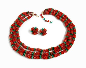 Triple Strand Necklace Plastic Wavy Beads , Matching Clip On Earrings , Red Green Orange Unique Vintage Demi Jewelry Set