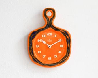 Junghans Orange ceramic clock, 70s wall clock, 70s kitchen clock, Junghans clock