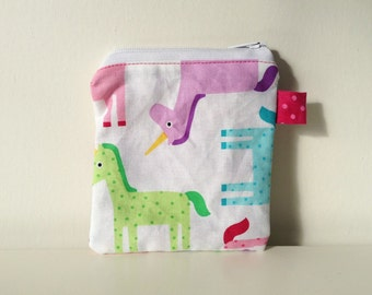 Unicorn Zippered Pouch - Coin Pouch - Fabric Change Purse - Coin Purse - Tiny Purse - Mini Makeup Bag, Small Accessories Bag, Multi Color