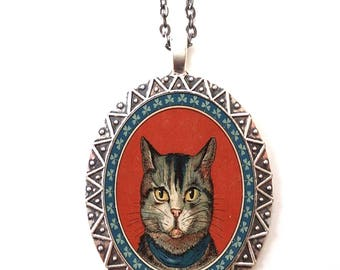 Cat Head Necklace Pendant Silver Tone - Kitten Illustration Animal Art
