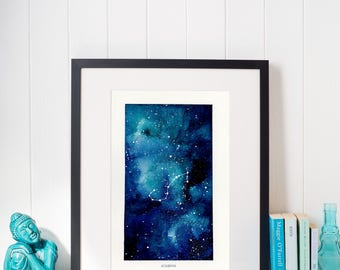 Scorpio, Zodiac Sign, Watercolor Print, 5x7, 8x10, Wall Art, Galaxy, Constellation, Stars, Astrology, Astronomy, Gift, Giclee Print