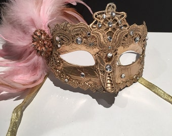 Pink Mask- Mardi Gras Mask- Carnival mask- Feather Mask- Masquerade Mask- Coque feathers- Venetian mask- Wedding Mask- Sweet 16 mask- Prom