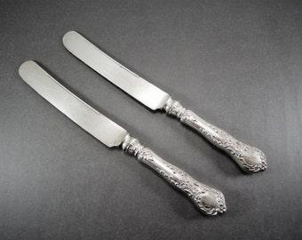 Antique Gorham Sterling Knife Set of 2, Sterling Silver Handle Pattern H140 Old French Hollow Handle, Silver Plate Blade, Monogram EMJ