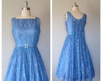 vintage 1950s cerulean blue lace party dress size medium