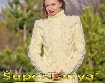 Alpaca sweater in cream ivory, handmade cable knit designer pullover by SuperTanya