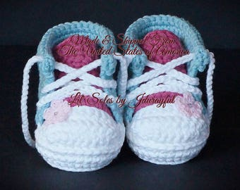 Baby Tennis Shoes, Baby Sneakers, Baby Converse, Baby Chuck Taylors, Crochet Baby Shoes, Baby Girl Shoes, Baby Shower Gift, Pink Baby Shoes
