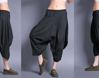Linen bloomers pants/Trousers /----irregular linen cotton shorts  wide leg pants