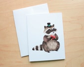 Greeting Card: Dapper Raccoon  - A2 Small Card, Blank Card, Thank you, Happy Birthday, Cute Stationery, Animal Cards, Unique Cards