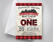 Lumberjack Birthday Invitation, Fall Birthday, Flannel Up for Some Fun Birthday Invitation, Outdoors Birthday Invite, 5x7