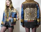 TAPESTRY Jacket 70s Vintage Renewed Wrangler Denim Snake Patched Fringe Velvet Patched Stud Embroidered HANDMADE Carpet Jacket vtg 1970s S M