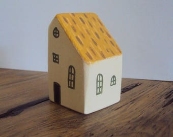 Miniature Folk Art House - Tiny Thatched Cottage - Little Wooden Village Folk Figurine - Decorative Wood Houses - Handpainted Country Decor