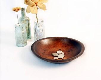 Vintage Small Wooden Bowl - Man's Dresser Accessory - Dresser Top Valet - Oval