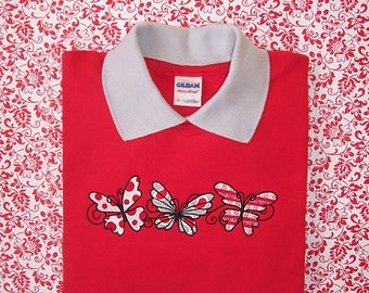 Large Fun Fluttering Butterfly Trio Design Embroidered Sweatshirt on Red