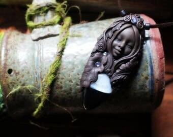 Clay Goddess Necklace with Sardonyx and Moonstone Gemstones.