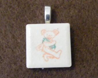 Grateful Dead Deady Bear - Laser engraved Ceramic Tile Pendant